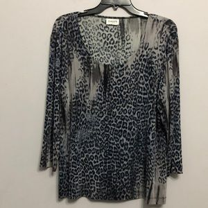 Chico's Travelers Leapord Whimsical Top Sz 2